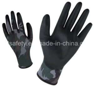Printed Polyester Work Glove with PU Palm Coated (PN8014-2) pictures & photos