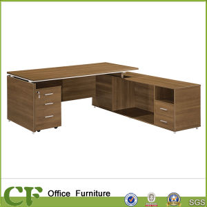 L Shape Melamine Laminated Office Executive Table with Side Cabinet pictures & photos