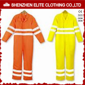 Fluorescent Yellow Orange Cotton Safety Reflective Coverall (ELTHVCI-15) pictures & photos