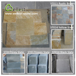China Black/Grey/Yellow/Green/Rustic Brown Slate Tile for Floor/Wall Cladding pictures & photos