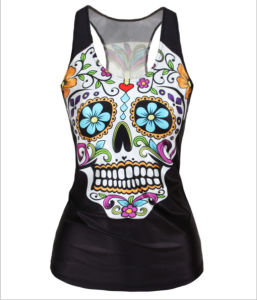 Tie-Dyed Floral 3D Pattern Lovely Hip-Hop Skinny Women Vest Tee pictures & photos