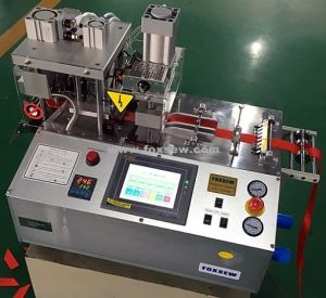 Automatic Angle Webbing Cutting Machine Hot Knife with Hole Puncher pictures & photos