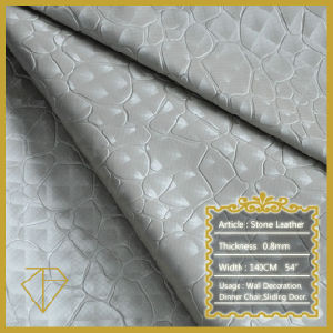 Stone Designed Upholstery Leather for Home Decoration (Semi-PU)