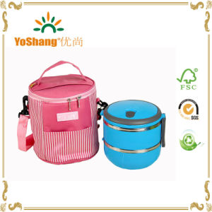 Round Shape Food Lunch Cooler Bag for Office Use pictures & photos
