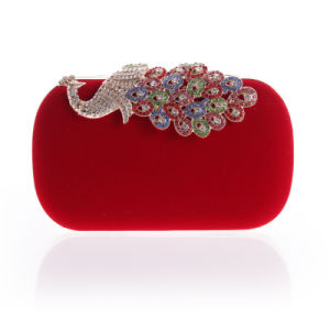 New Design Red Women Flower Shoulder Crystal Peacook Rhinestone Handbag Evening Bag for Party pictures & photos