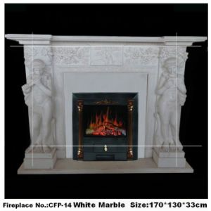 Stone Figure Fireplace Electric Fireplace Mantel Carved by Marble (YKFP-14)
