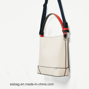 High Quality Contrast Color Women Tote Bag Stitching PU Handbag pictures & photos
