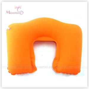 Promotional PVC Flocking Inflatable Neck Air Pillow 44X28cm pictures & photos