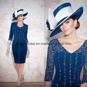 Sheath Mother′s Dresses Knee-Length Rhinestones Mother of Bride Dress Z4002 pictures & photos