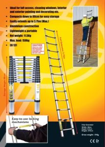 Telescopic Ladder - (AL-019-3.8) - EN131/SGS, GS/TUV, PAHs, REACH, BSCI