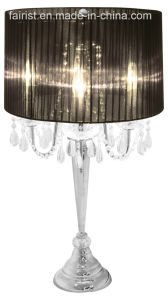 Modern Crystal Table Lamp with Cloth Shade