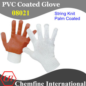 7g White Polyester/Cotton Knitted Glove with Brown PVC Smooth Coating pictures & photos