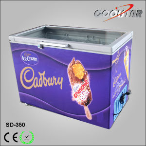 Tempered Glass Door Ice Cream Display Chest Freezer (SD-350) pictures & photos