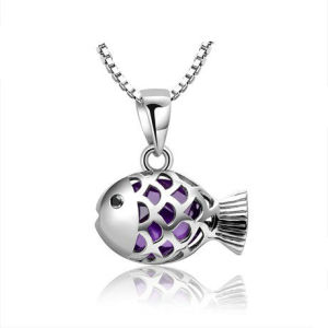 Lucky Fish Shape Silver Pendants Fq-5214