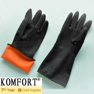 Heavy Duty Safety Work Black Industrial Latex Gloves (JMC-254D) pictures & photos