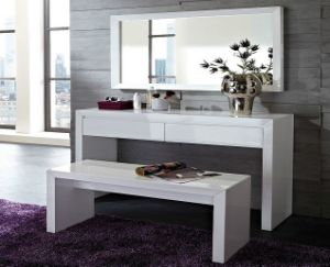 White Wooden Dresser Dressing Table with Bench and Mirror pictures & photos