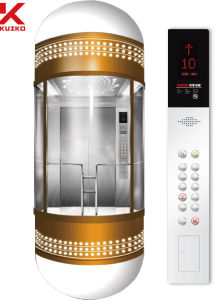 Glass Sightseeing Elevator with Golden Coating pictures & photos