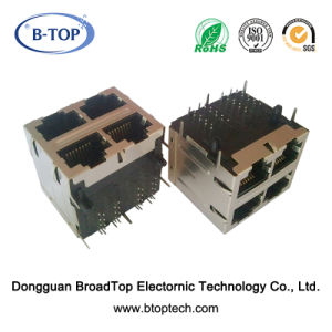 2X2 Dual 1000base-T Magnetic RJ45 Jack W/O LED