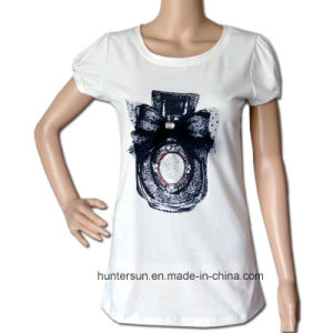 Women Casual Perfume Printed and Embroidered T Shirt (HT7044)