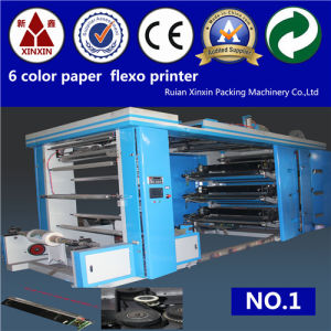 Double Rollers Tight in Winding 6 Color Flexo Printing Machine
