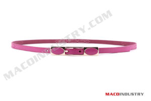Ladies Skinny PU Belt with Rectangular Buckle (Maco283)
