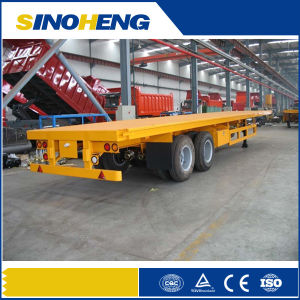Factory Price 3 Axles 40ft 20ft Flatbed Trailer Container with Twist Lock pictures & photos
