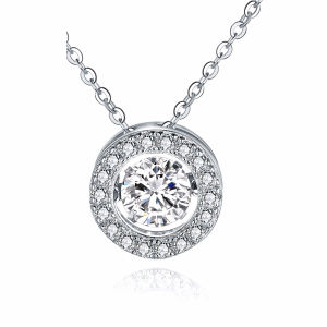 Round Shape 925 Silver Pendants Necklace with Dancing Diamond Jewelry pictures & photos