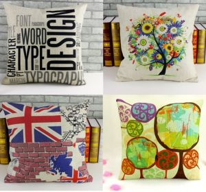 Linen-Like Digital Printed Cushion Cover pictures & photos