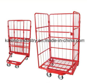 Manufacturing Three Sided Front Open Foldable Storage Roll Pallet Trolley Tc4626 pictures & photos