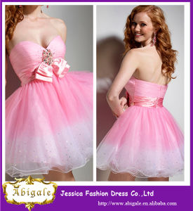 Wholesale Pink Organza Short Crystal Cheap Bridesmaid Dresses 2016 pictures & photos
