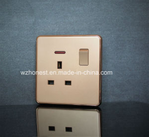 Square Button Leather Panel 13A Switched Socket pictures & photos