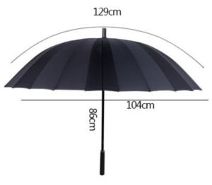 Polyester Windproof 24k Black Straight Umbrella pictures & photos