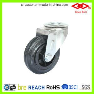 80mm Swivel Bolt Hole Black Rubber Wheel (G103-31D080X25) pictures & photos