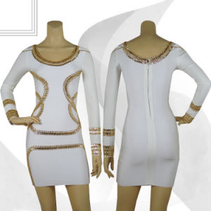Beaded Long Sleeve Crew-Neckline Prom Adult Dress pictures & photos