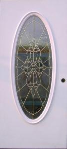Steel Door with Big Oval Decorative Glass pictures & photos