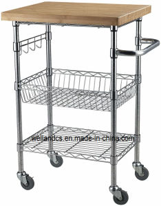 Removable DIY Wire Shelf Kitchen Cart with 38mm Thickness Bamboo Top and Hooks Rails pictures & photos
