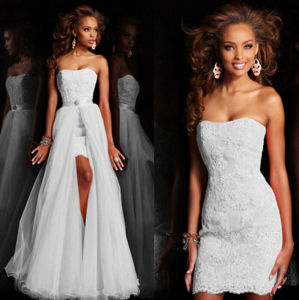 Popular Detachable Skirt Ribbon Band Sleeveless Lace Wedding Dress pictures & photos