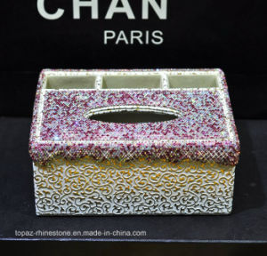 Rose Color Crystal Diamond Napkin Tissue Box Household Car Rhinestone Napkin Box (TB-015 Rose) pictures & photos