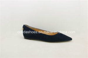 Comfort Pointy Flat Blue Soft Leather Women Shoes pictures & photos