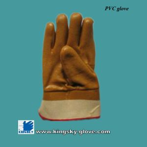 Safety Cuff Interlock Liner PVC Work Glove (PVC Glove) pictures & photos