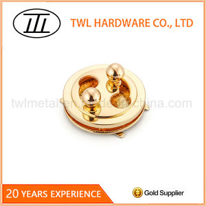 Rose Gold Tai-Chi Round Pie Shaped Hardware Turn Lock for Bags 2 pictures & photos