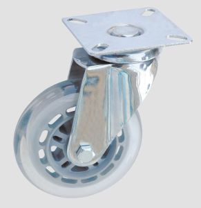 Industrial Caster Black Rubber Flat Transparent Caster