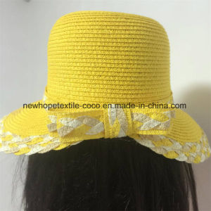 100% Paper Straw Hat, Fashion Mixed Col Style with Flower Decoration pictures & photos