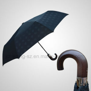 Automatic Wooden Crook Handle Mini 3 Folding Umbrella (JF-ABB301) pictures & photos