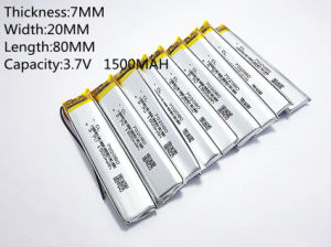 3.7V, 1500mAh, 702080 Polymer Lithium Ion / Li-ion Battery for Toy, Power Bank, GPS, MP3, MP4, Cell Phone, Speaker pictures & photos
