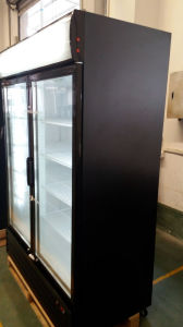 Double Door Auto-Defrost Supermarket Refrigerator with Lock and Handle pictures & photos