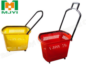 Hdpp Plastic Supermarket Shopping Folding 4 Wheels Basket pictures & photos