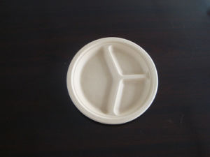 10inch 3compartment Compostable Biodegradable Eco Friendly Sugarcane Pulp Plate pictures & photos