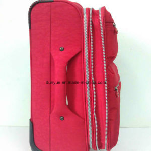 Durable Ladies Red Washer Wrinkle Fabric Trolley Case Bag, Custom Make Casual Travel Luggage Suitcase with Wheels pictures & photos