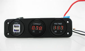Multi-Functional Dual USB Voltmeter Cigarette Light Socket Panel pictures & photos